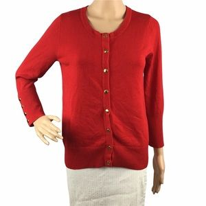 Carmen Marc Valvo Cardigan Sweater Size S Red Snap Front Long Sleeve